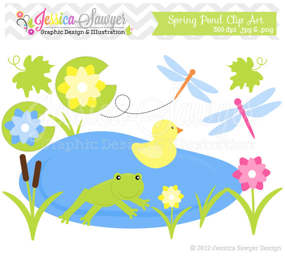 Instant Download Spring Pond Clipart   Frog Clip Art   Spring Graphic