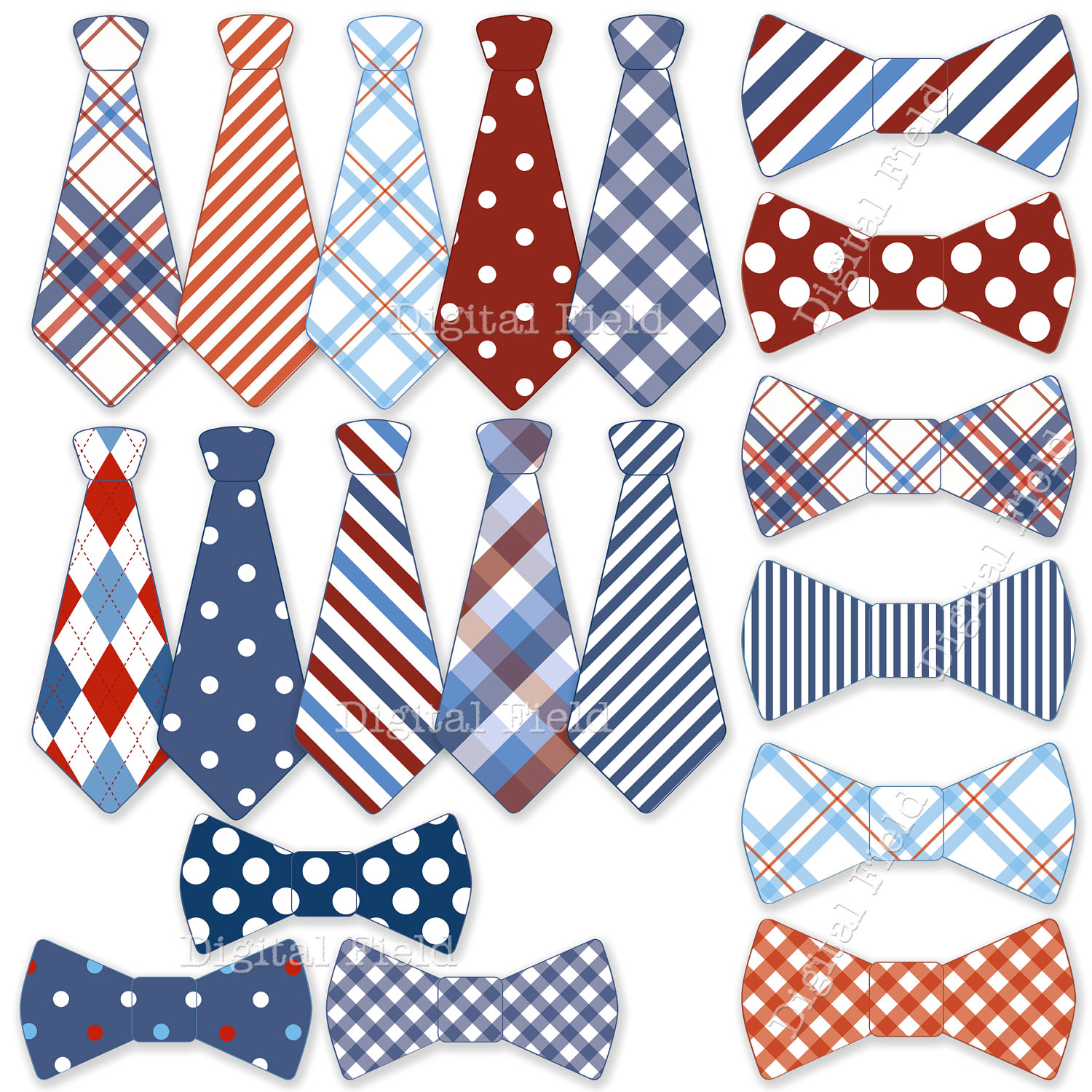 Necktie And Tie Bow Clip Art Set Blue White Red By Digitalfield