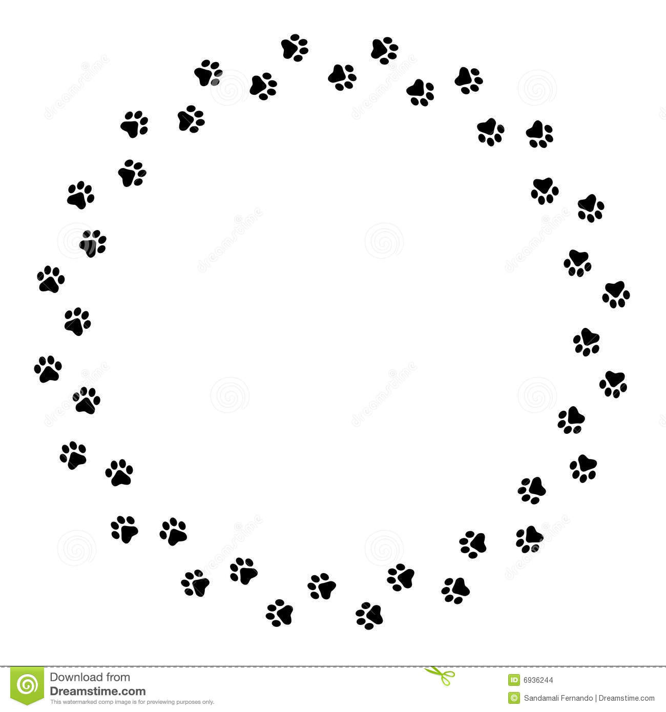 Paw Prints Border Stock Images   Image  6936244