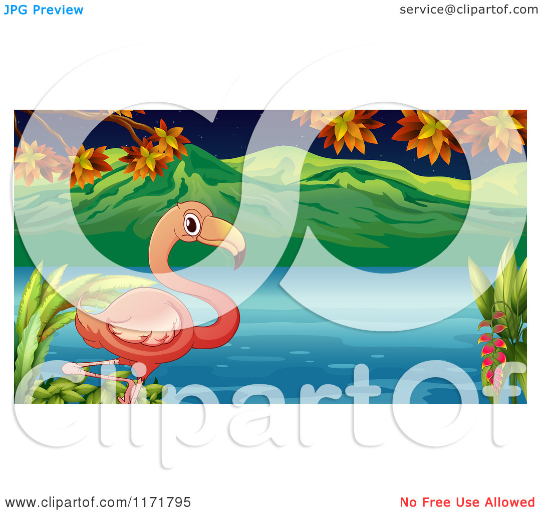 Royalty Free Cartoon Pink Flamingo Standing One Leg The Water