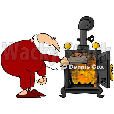 Santa In His Pjs Inserting A Log Into His Wood Stove   Djart  82392