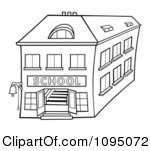 School Building Clipart Black And White Clipart Outlined Two Story