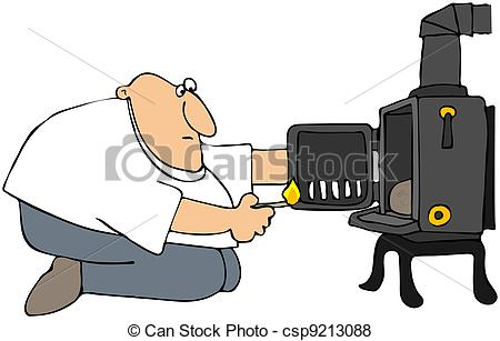 Stock Illustration   Man Lighting A Wood Stove   Stock Illustration