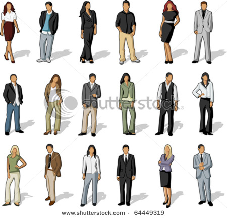Vector Clip Art Illustration Of Business And Office People Both
