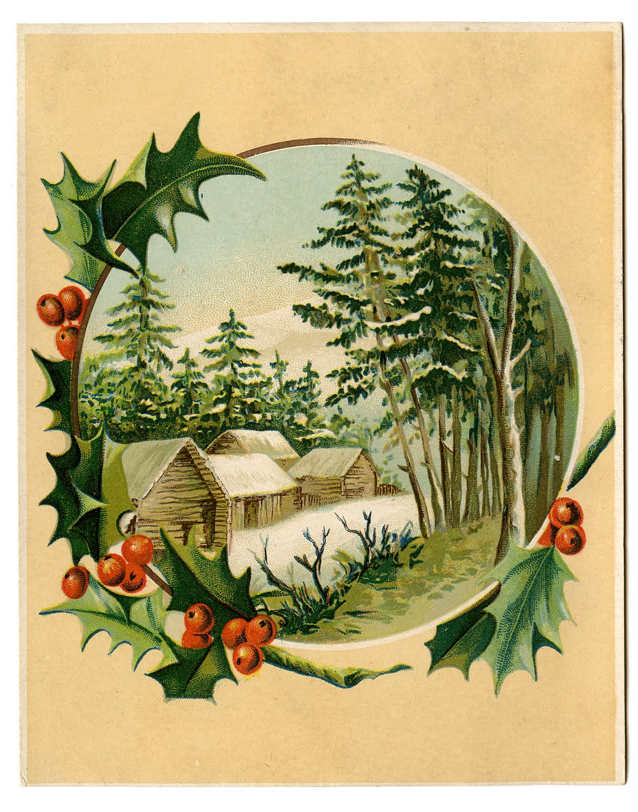 Vintage Christmas Clip Art   Winter Scene   Holly Frame   The Graphics