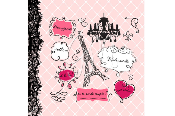 12 Paris Frames Clip Art Background   Illustrations On Creative
