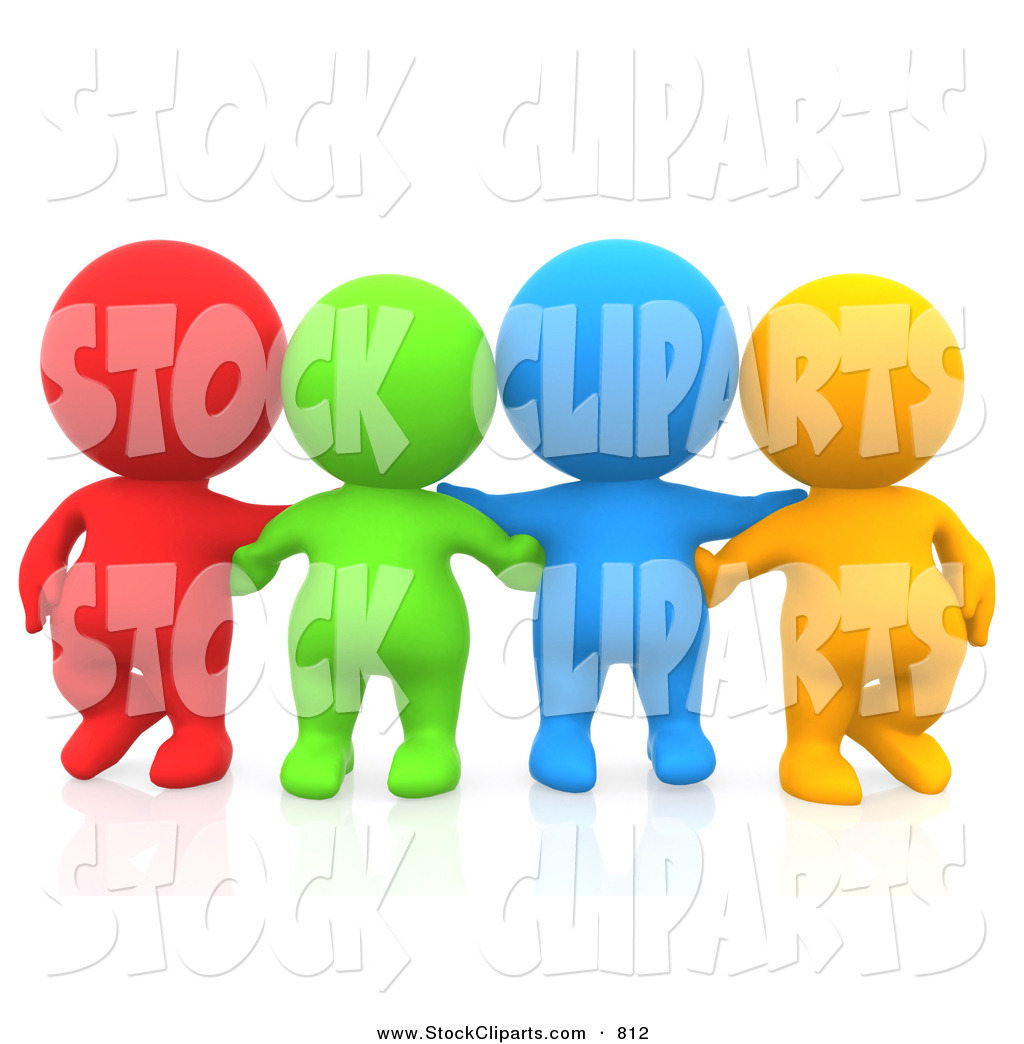 3d Clip Art Of A Line Of 3d Teeny People Friends Facing Front By