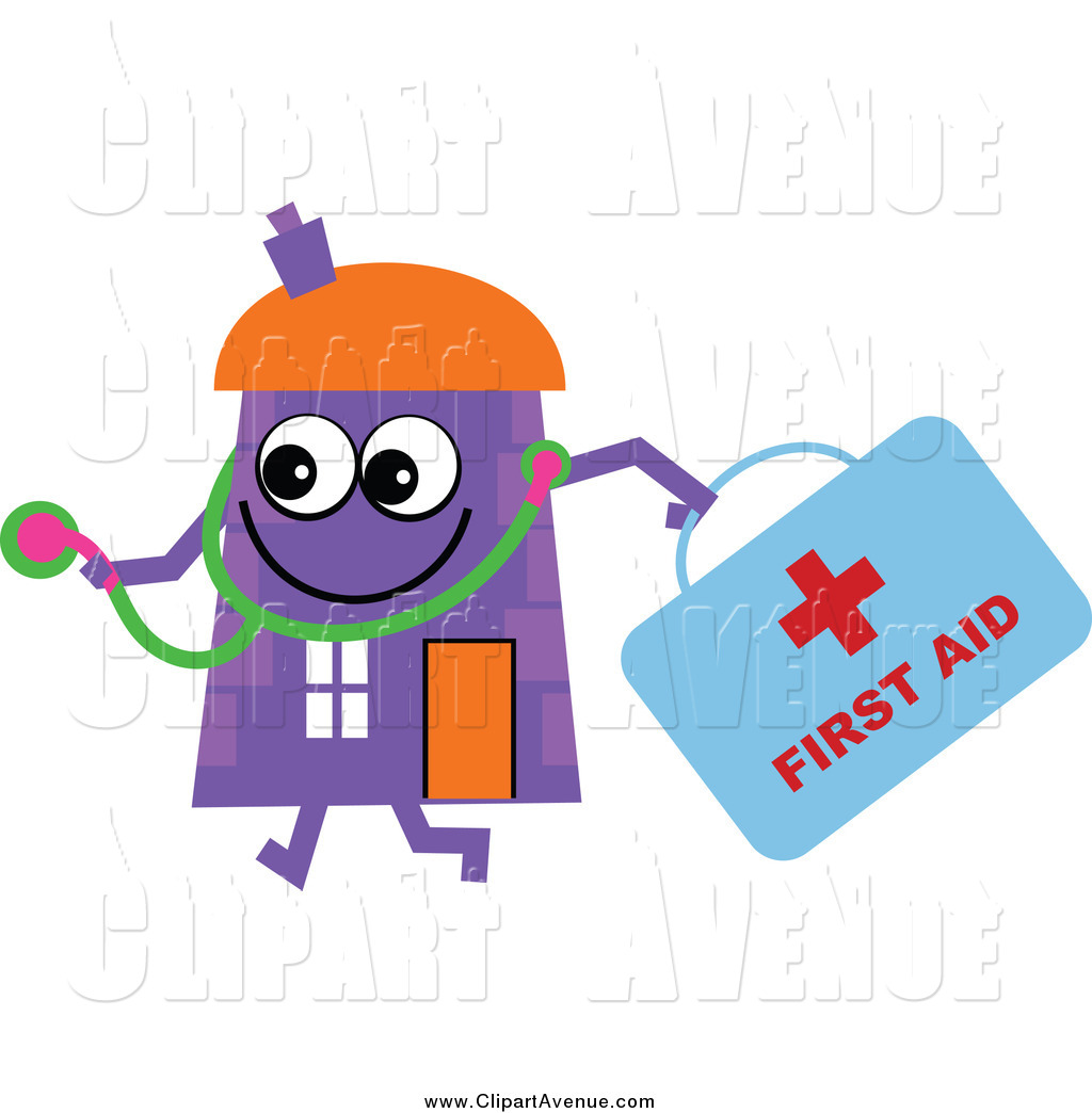 Avenue Clipart Of A Purple House Character Doctor With A First Aid Kit