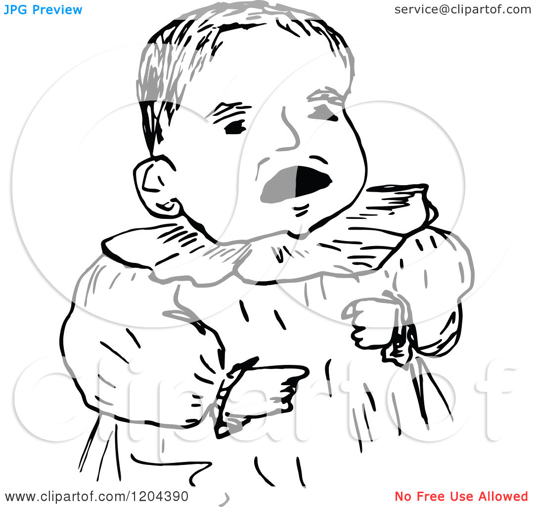 Clipart Of A Vintage Black And White Baby   Royalty Free Vector