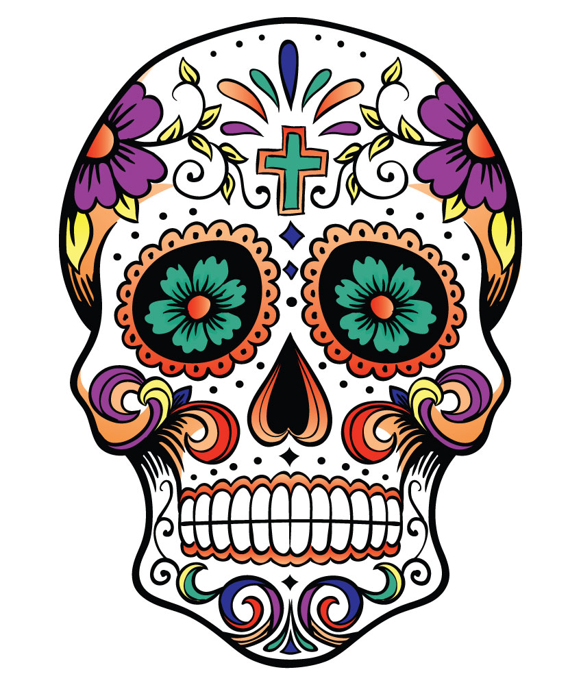 Sugar Skull Black And White Clipart - Clipart Kid