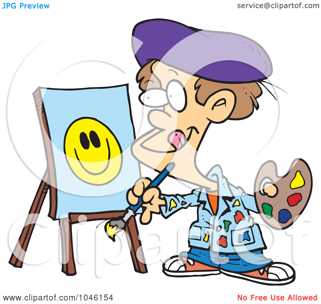 Illustration Of A Cartoon Boy Painting A Smiley Face By Ron Leishman