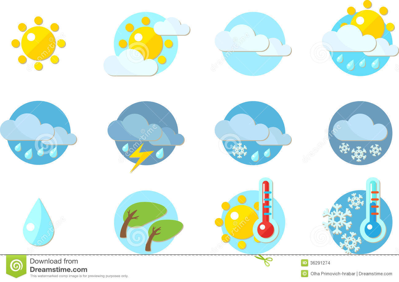 In Flat Design  Sunny Cloudy Rain Storm Snow Wind Hot And Cold