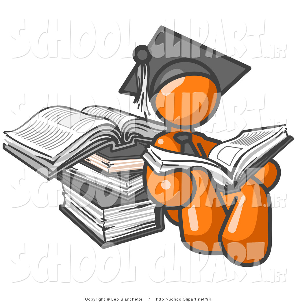 Male College Student Clipart Clip Art Of An Orange Male Student In A