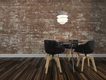 Modern Dining Table With Rustic Brick Wall Royalty Free Stock Image