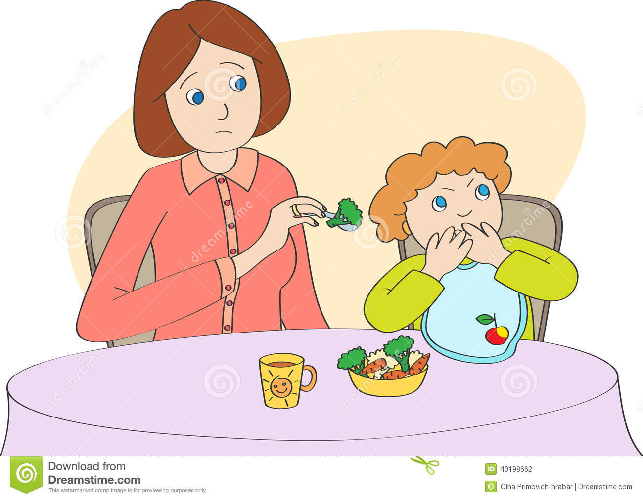 Mother Spoon Feeds The Child But Child Does Not Want To Eat