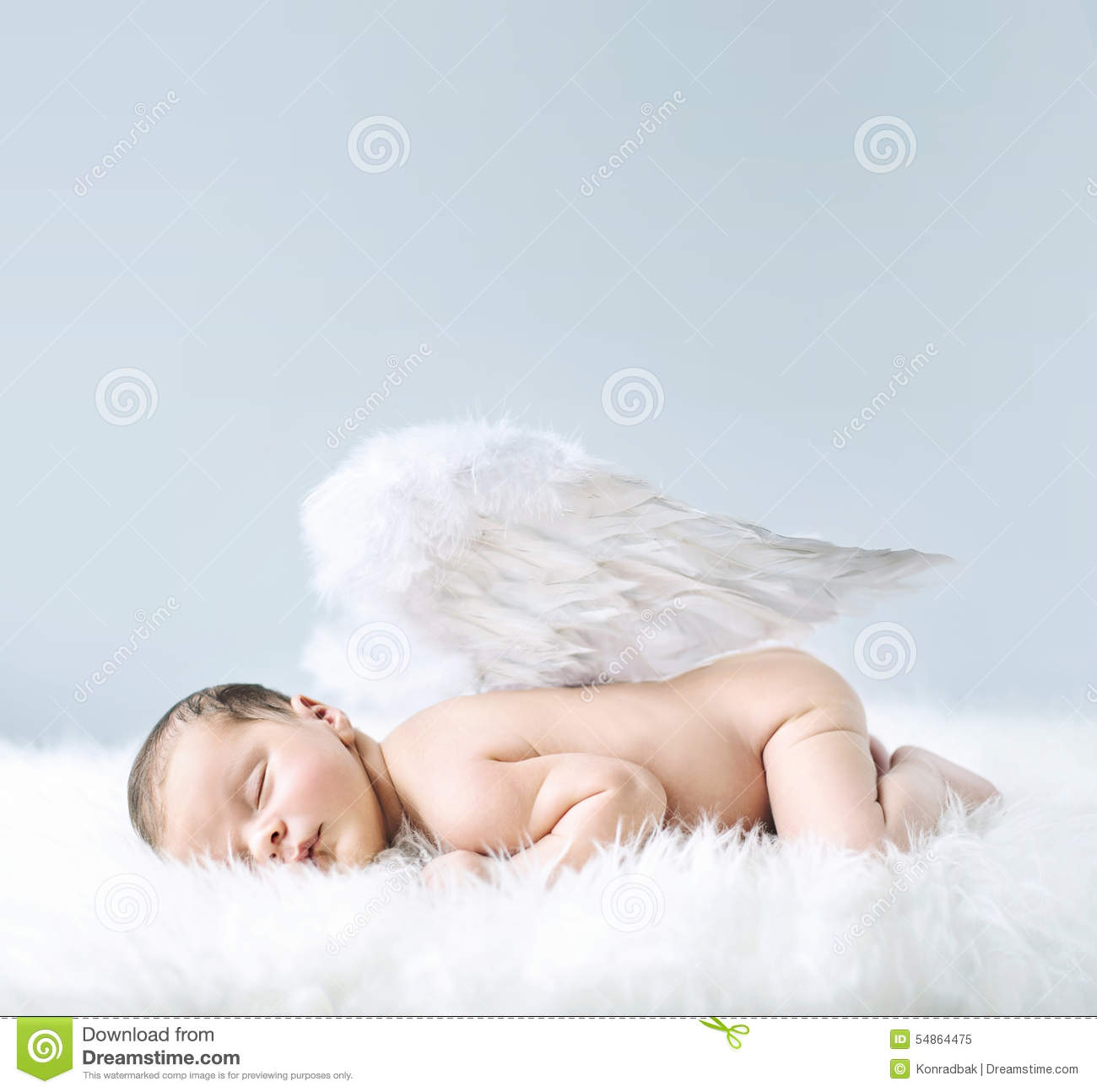 Newborn Baby As An Angel Stock Photo   Image  54864475