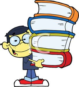 Of A Male Student With A Stack Of Books   Royalty Free Clipart Picture