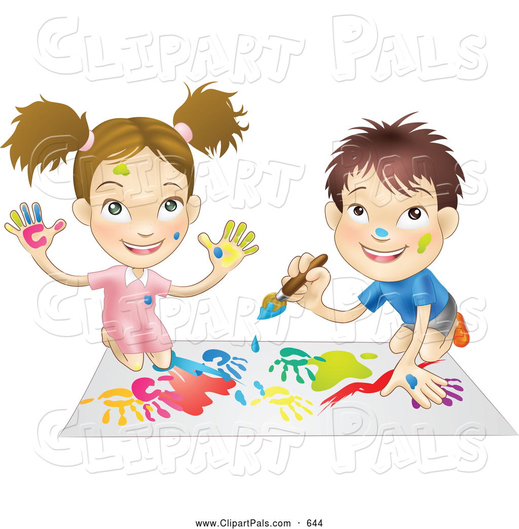 Pal Clipart Of A Cute White Boy And Girl Hand Painting And Painting