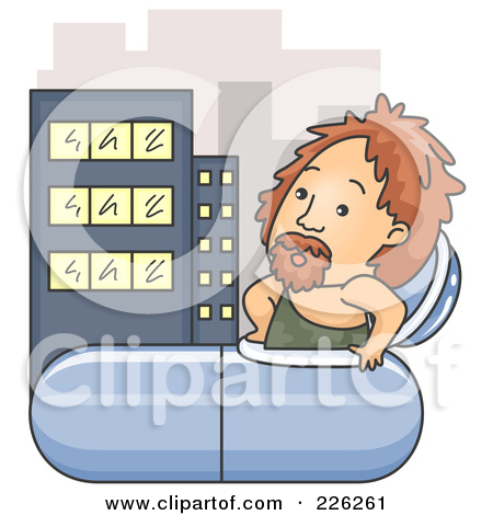 Rf  Clipart Illustration Of A Caveman Emerging From A Time Capsule