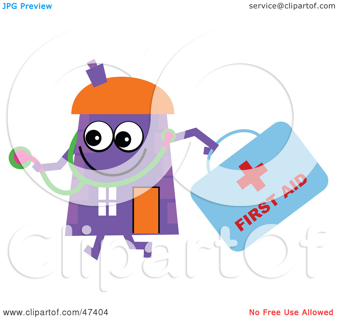 Rf  Clipart Illustration Of A Purple Cartoon House Character Doctor