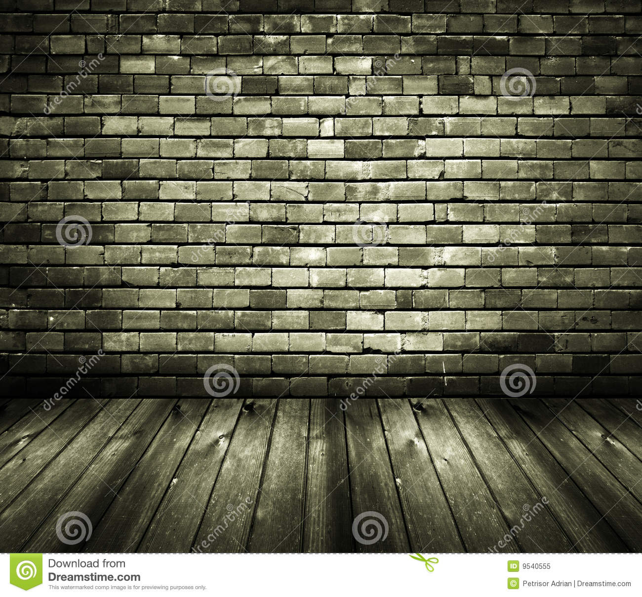 Rustic House Interior Brick Wall Wooden Floor Royalty Free Stock Photo