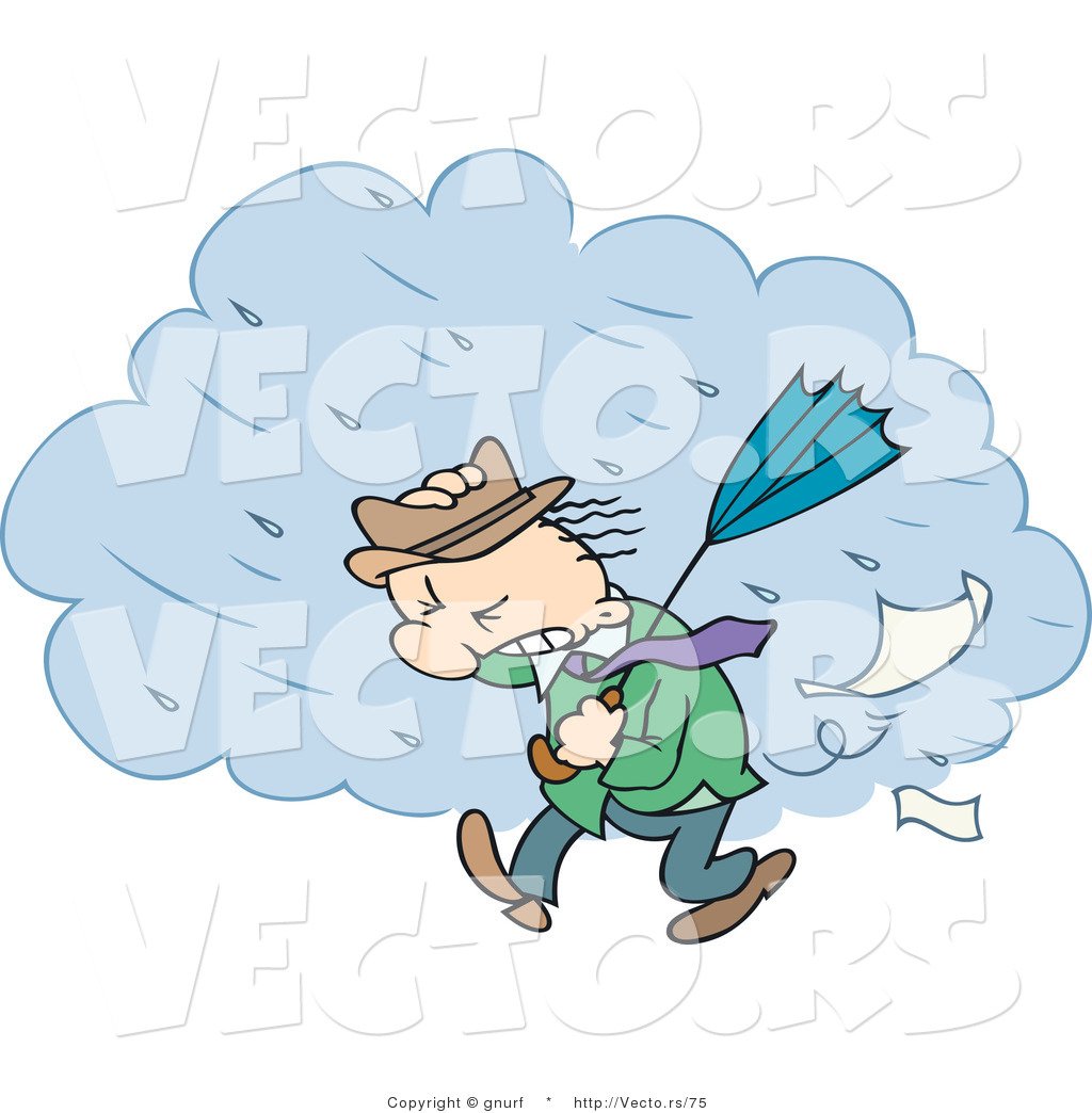 Vector Of A Cartoon Man Walking In A Windy Rain Storm By Gnurf    75