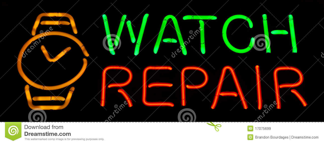 Watch Repair Neon Sign Royalty Free Stock Images   Image  17075699