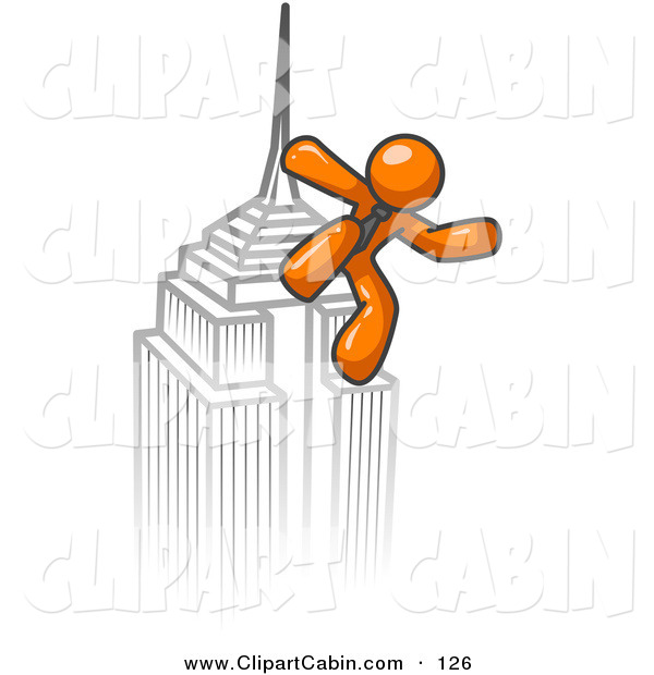 An Orange Businessman Climbing To The Top Of A Tall Skyscraper Tower