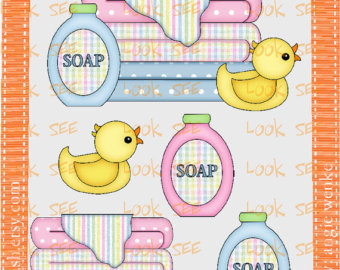 Bath Supplies Rubber Du Ck Towels Blue Pink No  300 Clip Art Clipart