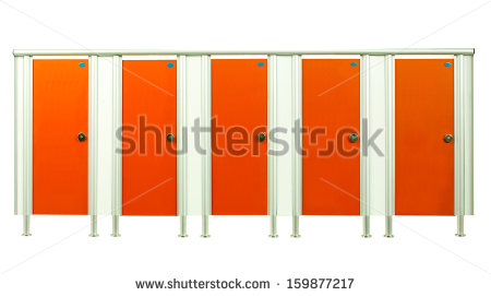 Bathroom Stall Door Clipart Colorful Orange Restroom Stall