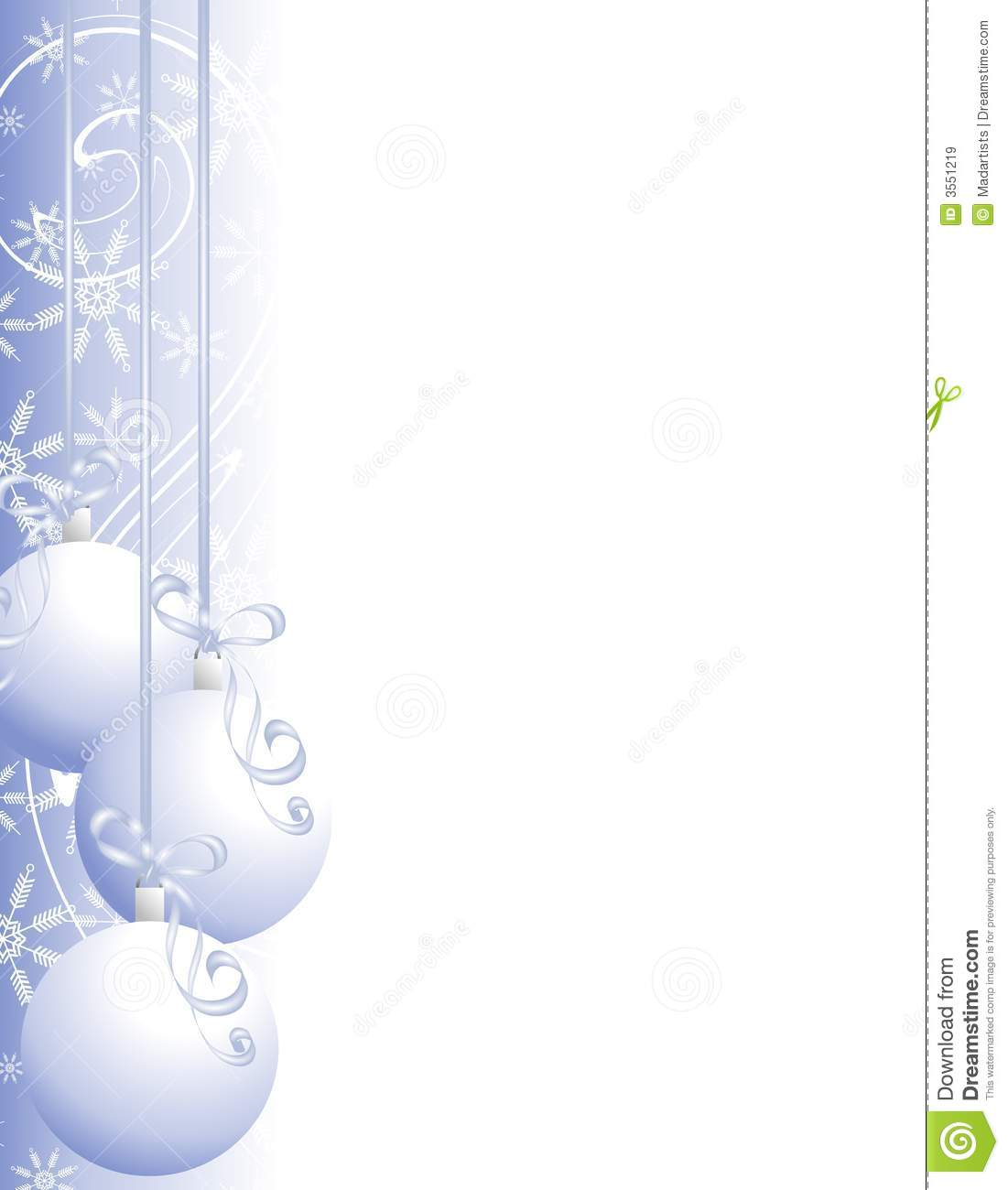 Christmas Page Border With Holiday Embellishments Of Snowflakes And