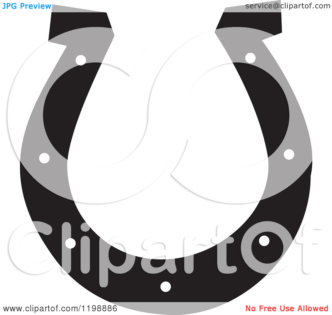 Clipart Of A Black And White Horseshoe   Royalty Free Vector