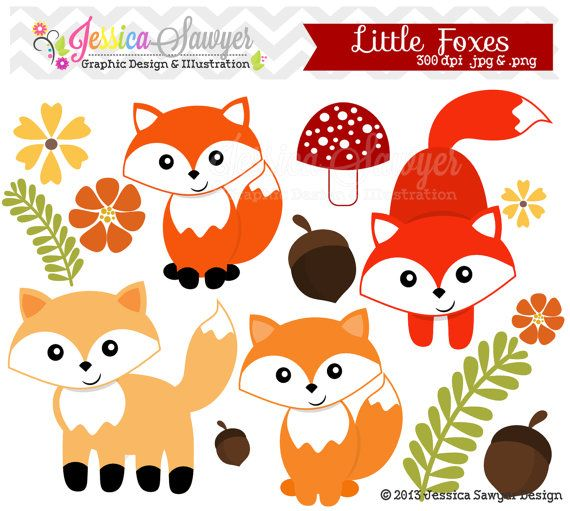 Clipart Woodland Woodland Clip Party Supplies Clip Art Baby Foxes