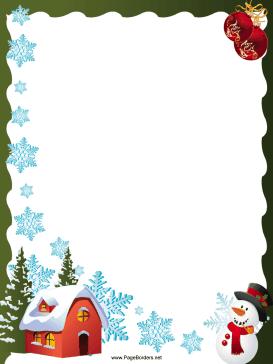 House Snowflakes And Snowman Christmas Border Page Border