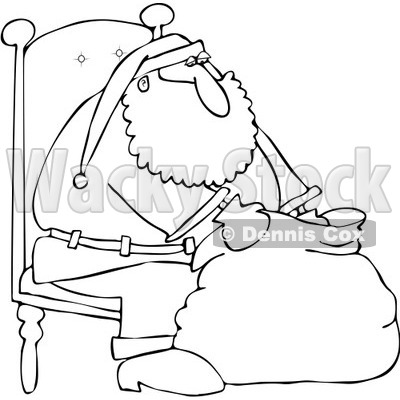 In A Chair And Looking Into His Bag   Royalty Free Vector Illustration