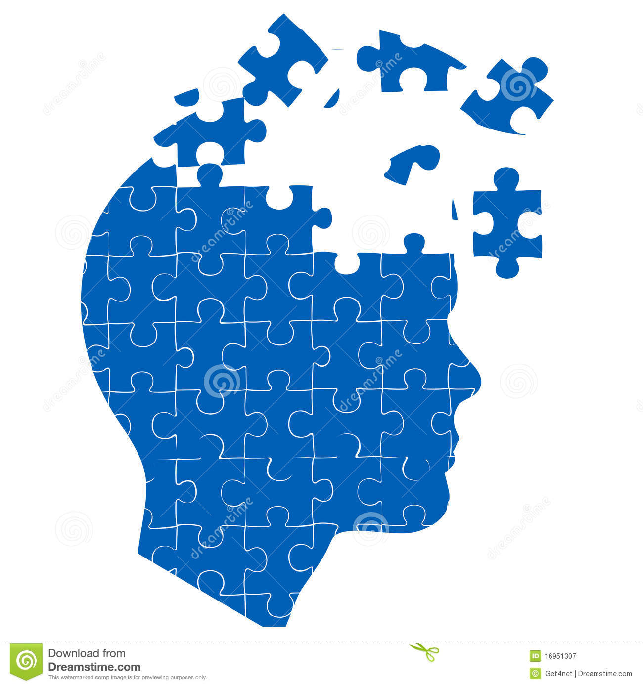 Man S Mind With Jigsaw Puzzle Royalty Free Stock Photography   Image