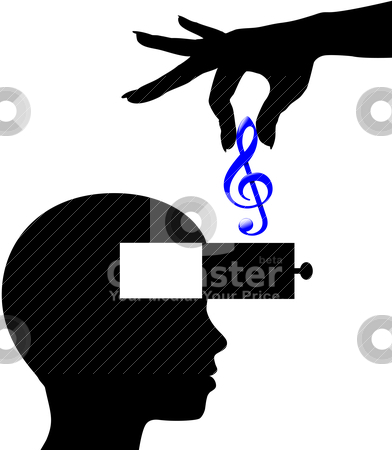 Music Download Or Lessons Into Open Mind Person Stock Vector Clipart