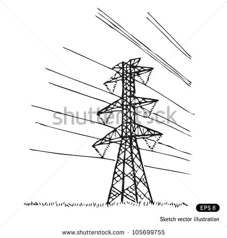 Power Lines  Hand Drawn Sketch Illustration Isolated On White