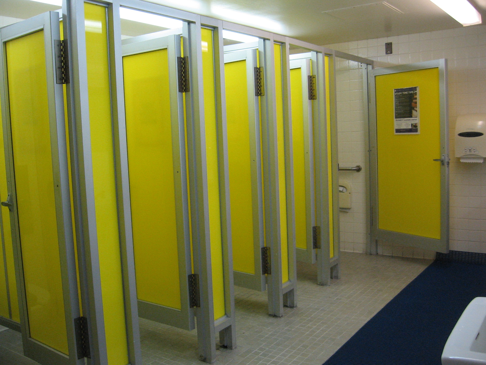 School Restroom Stalls Bright Yellow Bathroom Stalls