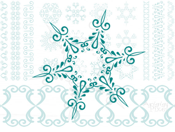 Snowflakes Clip Art Set Matching Borders Christmas Clipart Digital