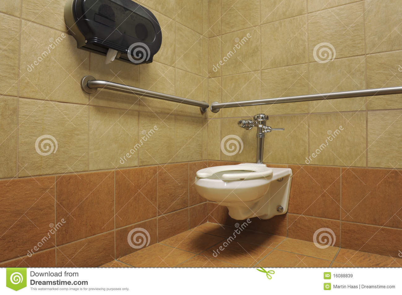 Toilet In A Public Restroom Stall Royalty Free Stock Images   Image