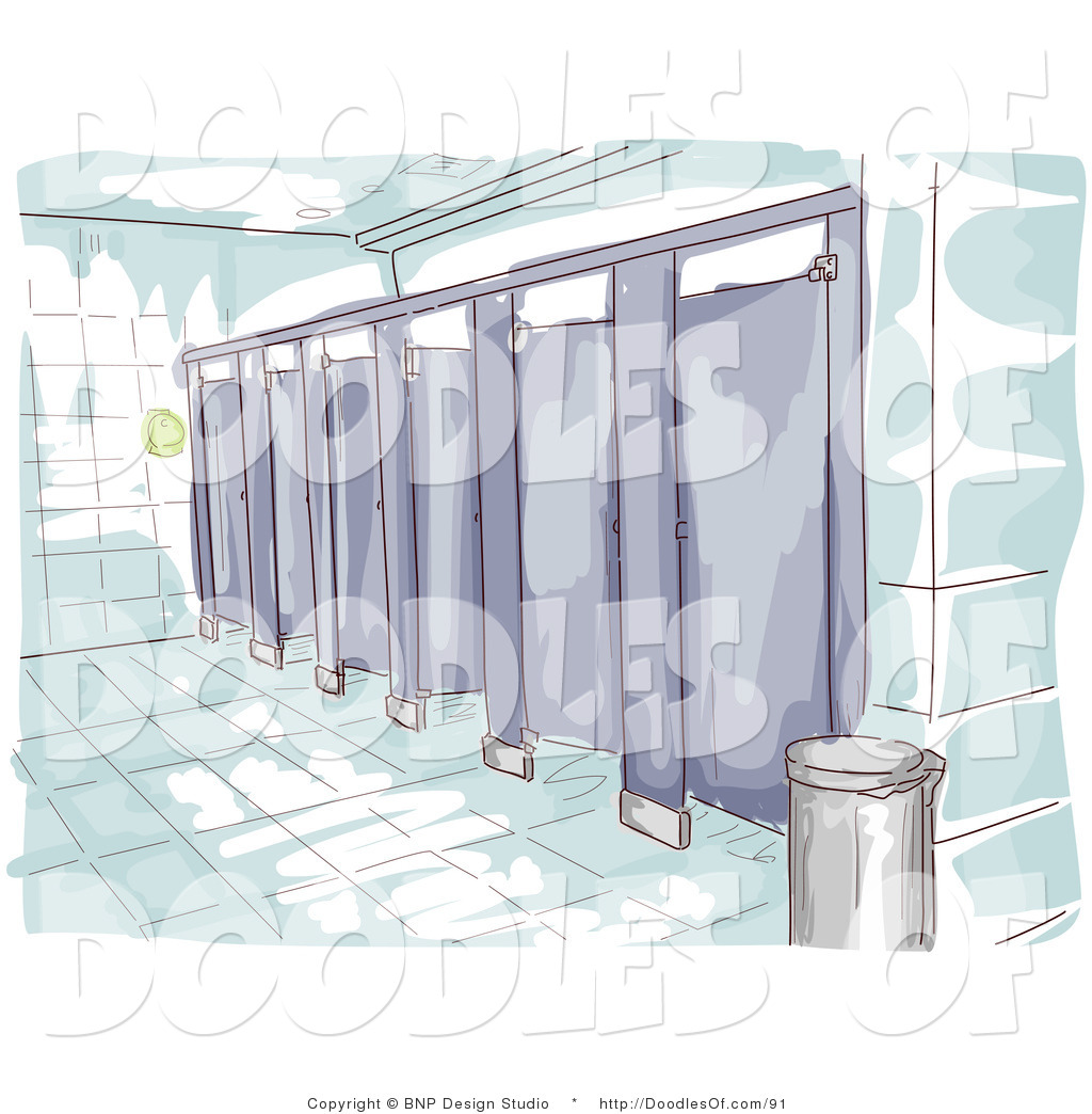 Vector Clipart Of A Watercolor And Sketched Public Restroom Scene With