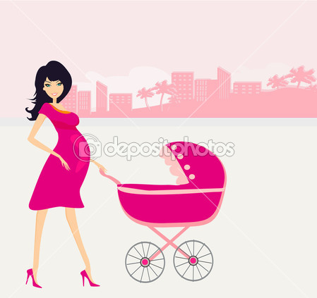 Beautiful Pregnant Woman Pushing A Stroller   Stock Illustration