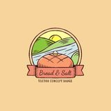 Bread And Salt Hand Drawn Vintage Vector Badge Royalty Free Stock