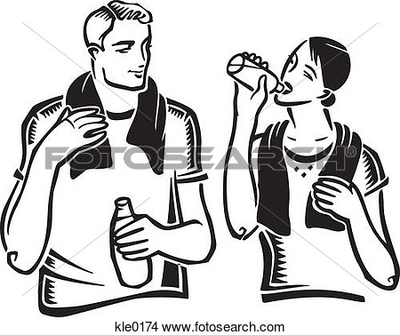 Drawings Of A Couple Drinking Water After Exercising Kle0174   Search