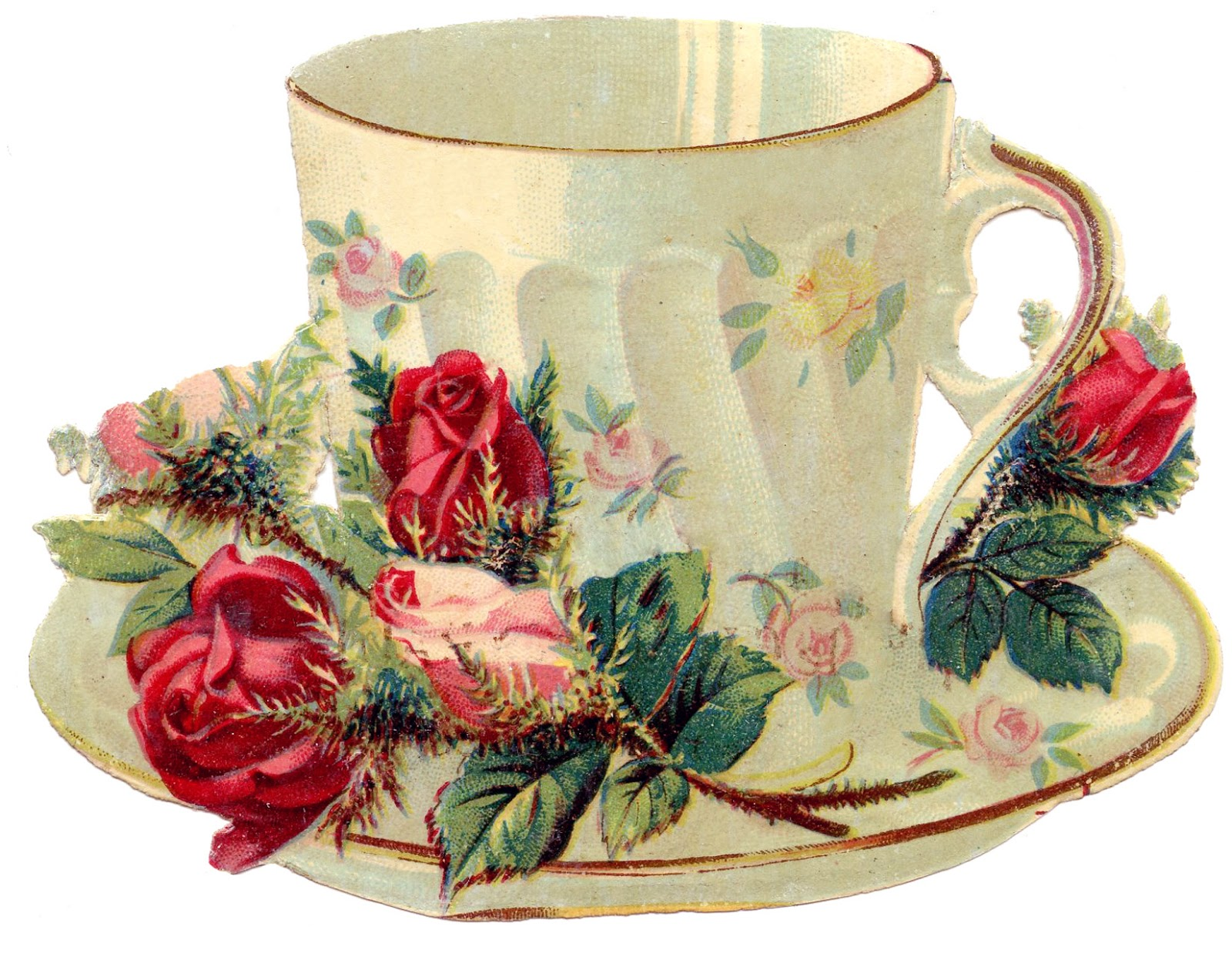 Free Vintage Images   Teacup With Roses   French   The Graphics Fairy