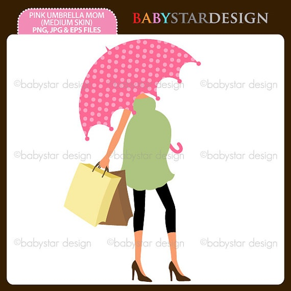 Pink Umbrella Mom 2 Medium Skin Clipart Single By Babystardesign  1