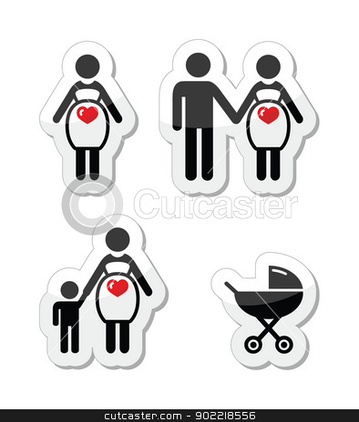 Pregnant Woman Vector Icons Set Stock Vector