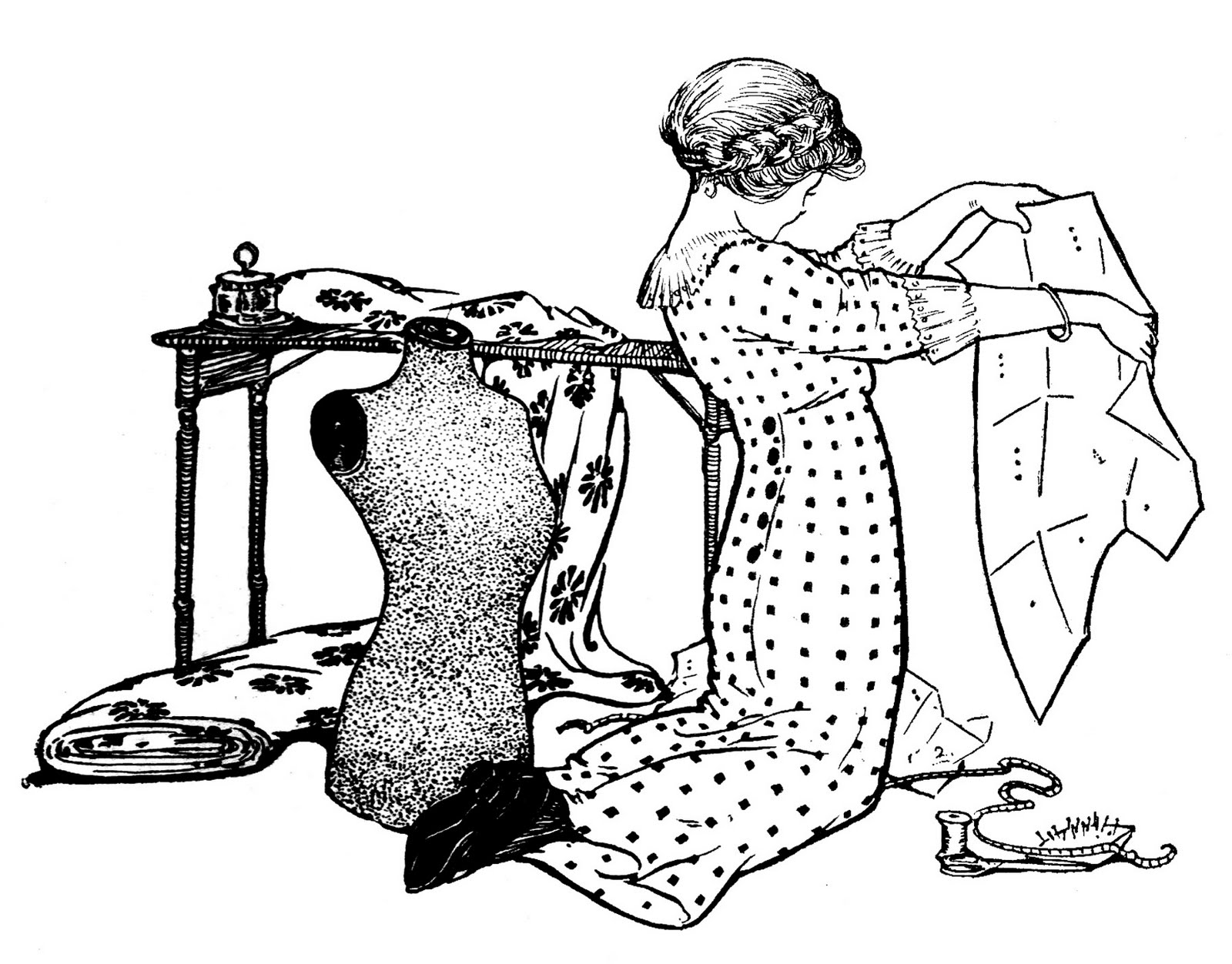 Vintage Sewing Clip Art   Girl With Pattern And Dress Form   The