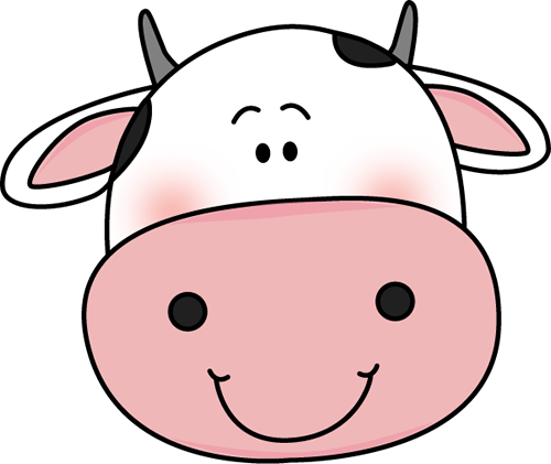 Cow Head With Black Spots Clip Art Image   Smiling Cow Head With Black